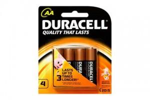 Duracell Batteries AA PK 4 Alkaline