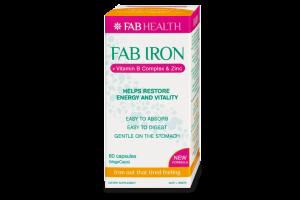 Fab Iron+ Vitamin B Complex & Zinc  60 Vege Capsules