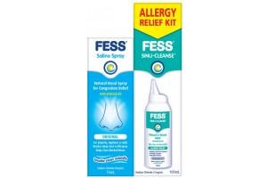 Fess  Allergy Relief Kit ( FessSaline Nasal Spray 75mL+ Fess Sinu Cleanse 100mL )