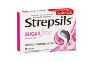 Strepsils SugarFree Strawberry Throat  Lozenges 36 PK